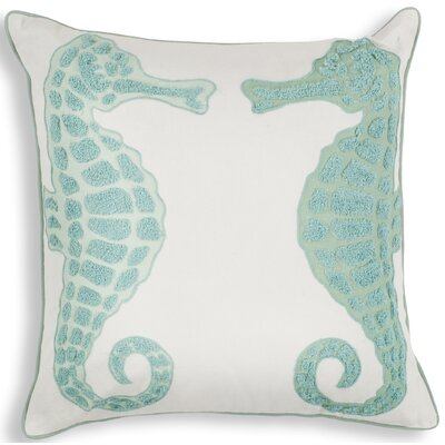 Chamberlain Aqua Seahorse Linen Throw Pillow