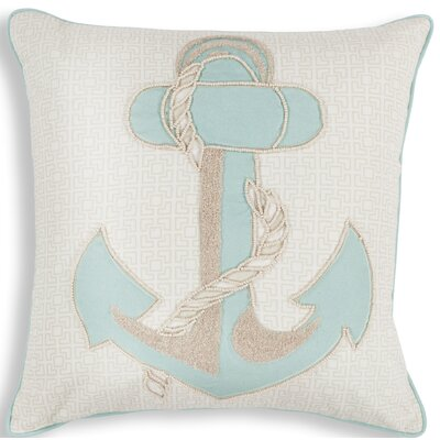Chamberlain Aqua Anchor Linen Throw Pillow