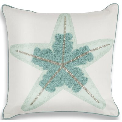 Chamberlain Aqua Starfish Linen Throw Pillow
