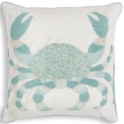 Chamberlain Aqua Crab Linen Throw Pillow