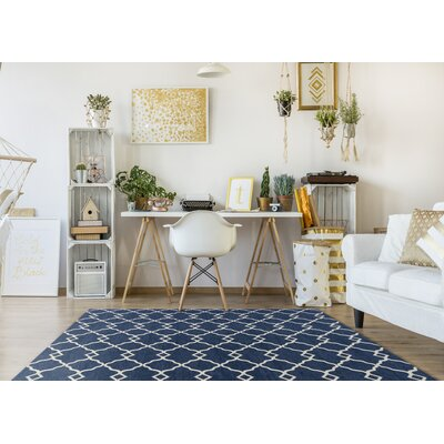Cambridge Navy Layla Area Rug Rug Size: 26 x 45