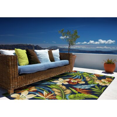 Malvern Tropics Hooked Blue/Green Indoor/Outdoor Area Rug Rug Size: 33 x 53