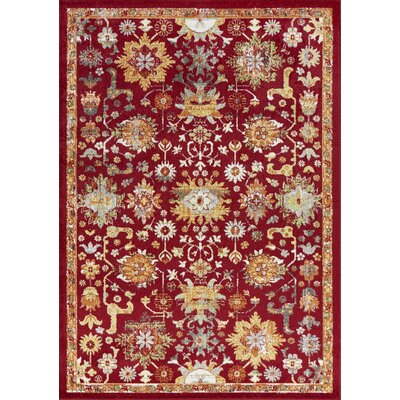 Berklee Red Area Rug Rug Size: Rectangle 53 x 77
