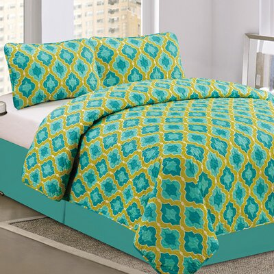 Taj Geometric 3 Piece Queen Quilt Set