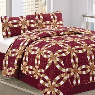 Wedding Ring 3 Piece Queen Quilt Set