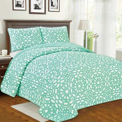 Casablance Geo 3 Piece Reversible Quilt Set Size: Queen