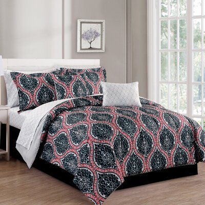 Victoria 10 Piece Reversible Comforter Set Size: King