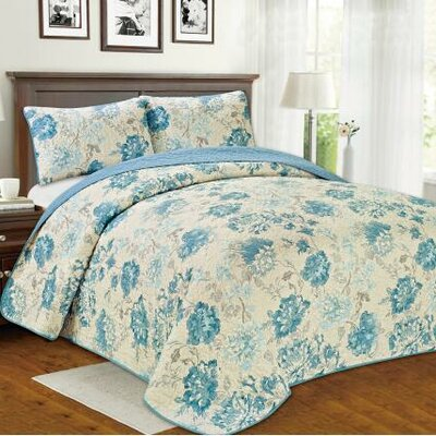 Brigitte Floral 3 Piece Reversible Quilt Set Size: King
