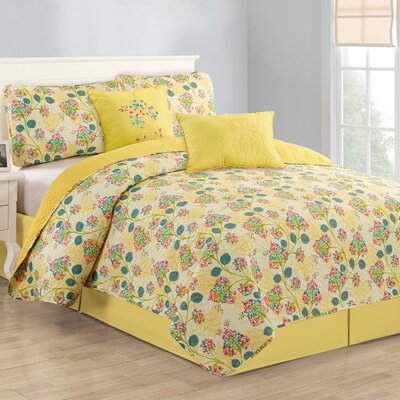 Treetop Floral 5 Piece Reversible Quilt Set Size: King