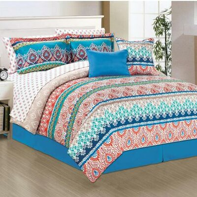 Fez 10 Piece Reversible Comforter Set Size: Queen
