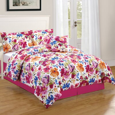 Bloomsbury Floral 4 Piece Reversible Comforter Set Size: Queen