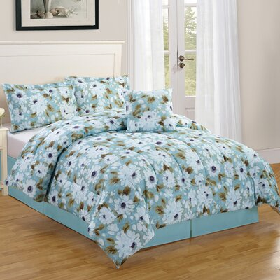 Snowflower 4 Piece Reversible Comforter Set Size: Queen