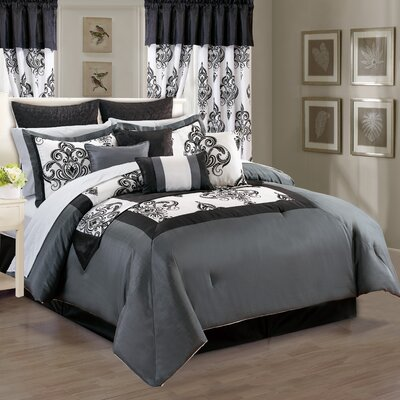 Flocked Damask Comforter Set Size: King