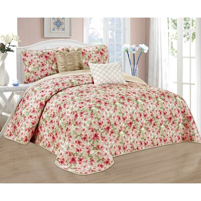 Evening Cherry Blossom 5 Piece Reversible Quilt Set Size: Queen