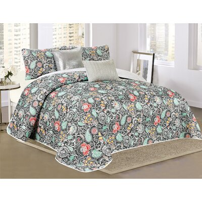 Alessandra 5 Piece Reversible Quilt Set Size: King