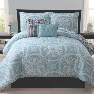 Antalya 5 Piece Reversible Comforter Set Size: King, Color: Blue