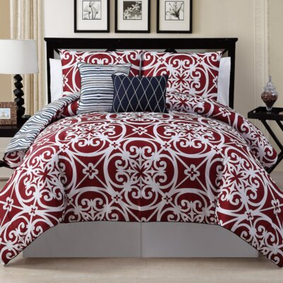 Antalya 5 Piece Reversible Comforter Set Size: Queen, Color: Red