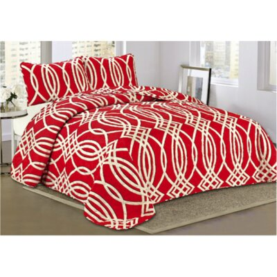 Split Scroll 3 Piece Quilt Set Size: Queen