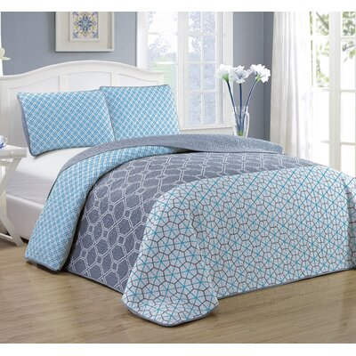Geo 3 Piece Quilt Set Size: Queen, Color: Blue