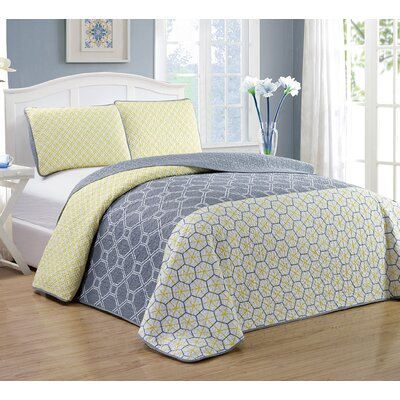 Geo 3 Piece Quilt Set Size: King, Color: Yellow