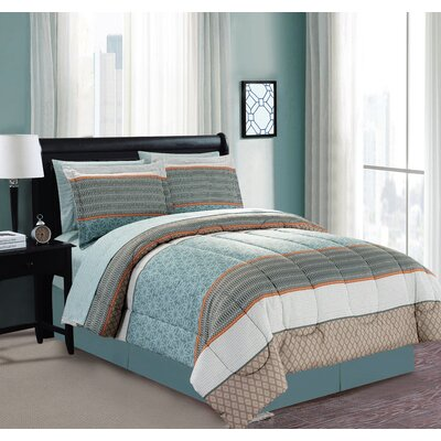 Mixit Border 8 Piece Bed in a Bag Set Size: Queen