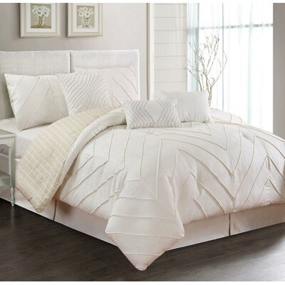 5 Piece Comforter Set Size: King, Color: Ivory