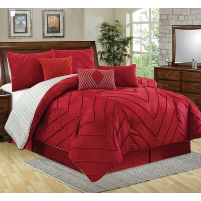 5 Piece Comforter Set Size: King, Color: Red