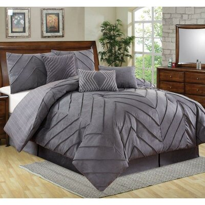 5 Piece Comforter Set Size: King, Color: Gray