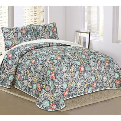 Alessandra 3 Piece Reversible Quilt Set Size: King