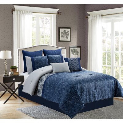 Deston 8 Piece Comforter Set Size: Queen