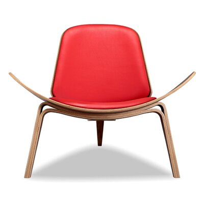 Plywood Modern Lounge Chair Upholstery: Red, Finish: Walnut