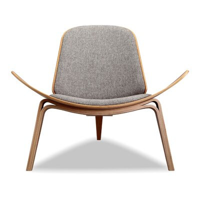 Tripod Plywood Modern Lounge Chair Color: Urban Pebble, Finish: Oak