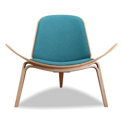 Tripod Plywood Modern Lounge Chair Color: Urban Surf, Finish: Oak