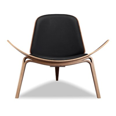 Plywood Modern Lounge Chair Upholstery: Black, Finish: Walnut