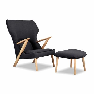 Cub Mid Century Modern Lounge Chair and Ottoman Finish: Urban Ink