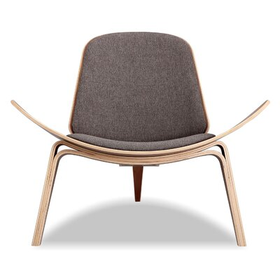 Tripod Plywood Modern Lounge Chair Color: Urban Storm, Finish: Walnut