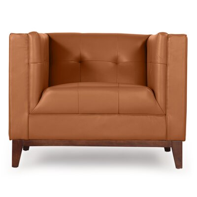 Harrison Mid Century Modern Club Chair Color: Saddle Brown