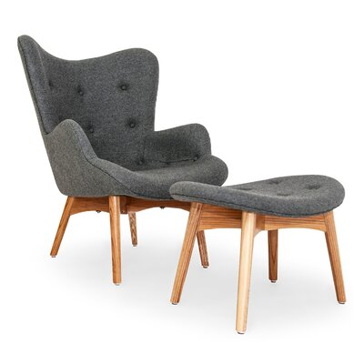 Contour Lounge Chair and Ottoman Upholstery: Cadet Gray