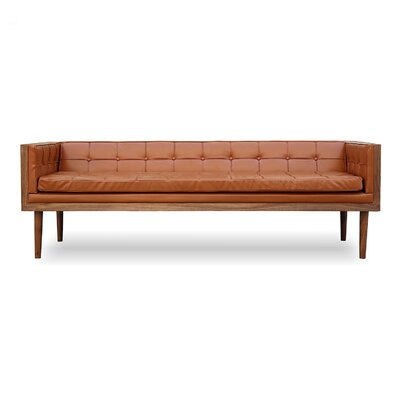 Woodrow Mid Century Modern Box Leather Sofa Upholstery: Caramel