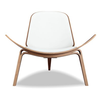 Plywood Modern Lounge Chair Upholstery: White, Finish: Walnut