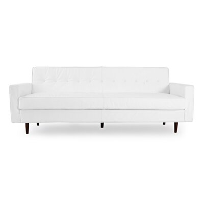 Eleanor Mid Century Modern Leather Sofa Upholstery: Arctic White