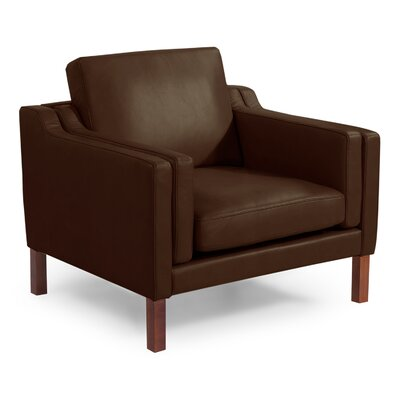 Rolando Mid Century Modern Leather Guest Club Chair Color: Coco Brown