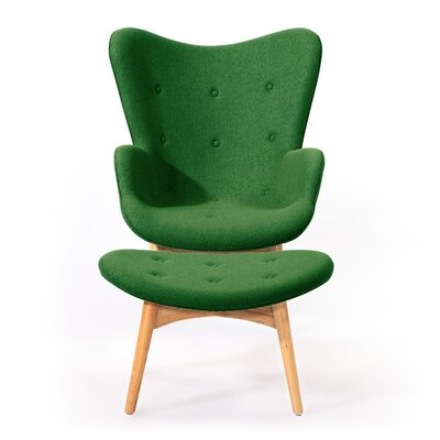 Contour Lounge Chair and Ottoman Upholstery: Wheatgrass