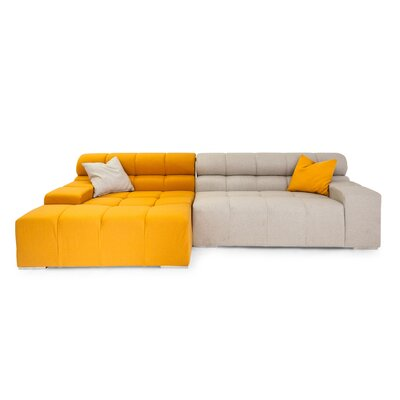 Cubix Sectional Upholstery: Charcoal/Chalk White, Orientation: Right Hand Facing