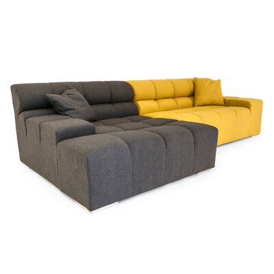 Cubix Sectional Upholstery: Charcoal/Arylide, Orientation: Left Hand Facing