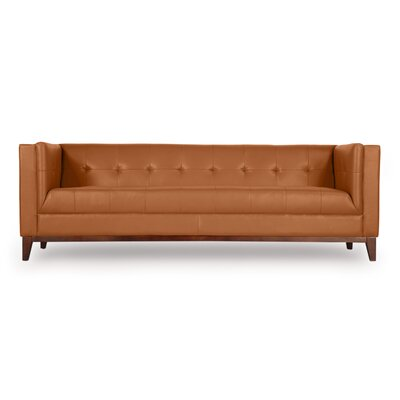Harrison Mid Century Modern Loft Leather Chesterfield Sofa Upholstery: Saddle Brown