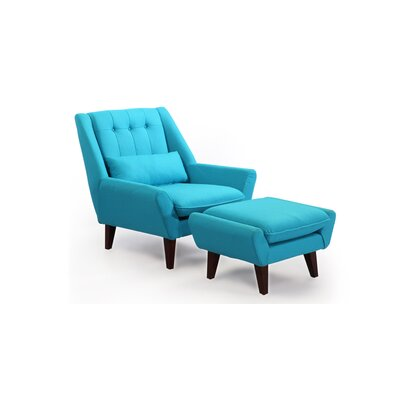 Stuart Lounge Chair and Ottoman Upholstery: Deco Blue