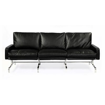 Modern Leather Sofa Upholstery: Black