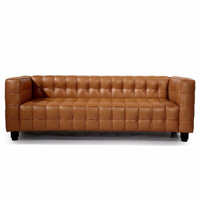 Kubus Mid Century Modern Leather Chesterfield Sofa Upholstery: Canyon
