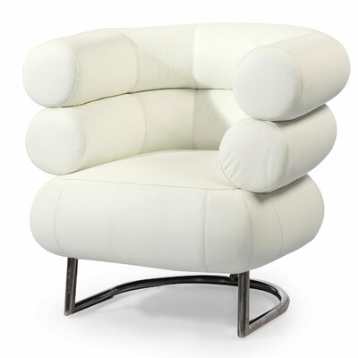 Bibendum Leather Barrel Chair Color: Arctic White